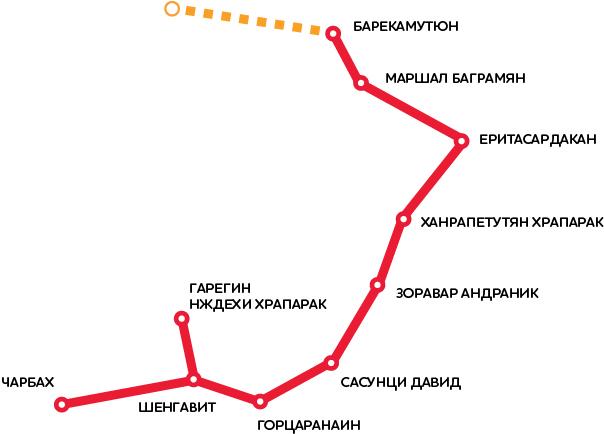 Карта метро города Ереван