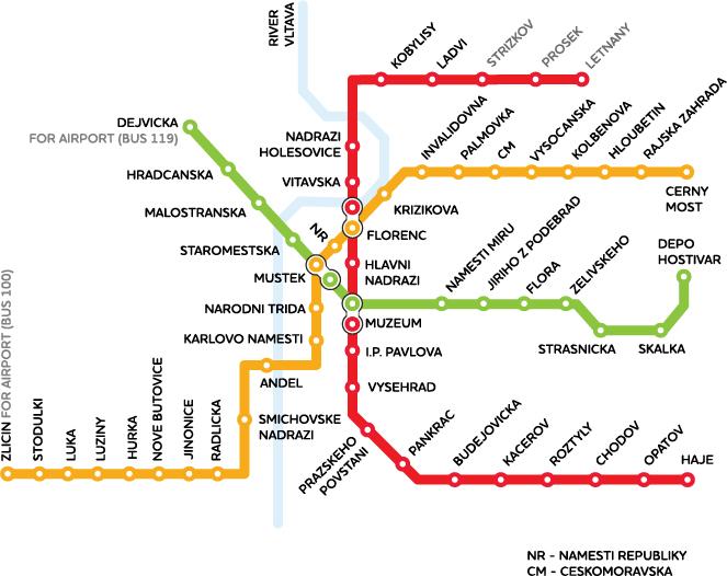 Карта метро города Прага