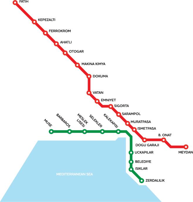 Карта метро города Анталья