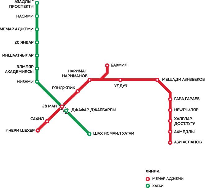 Карта метро города Баку