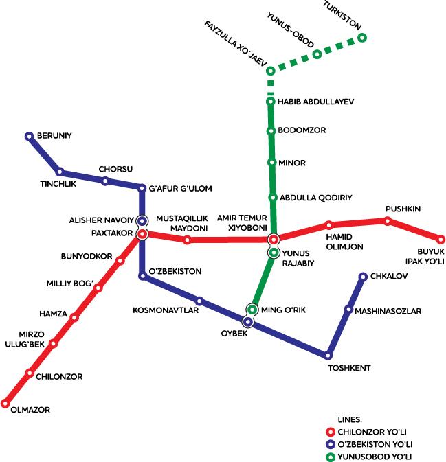 Карта метро города Ташкент