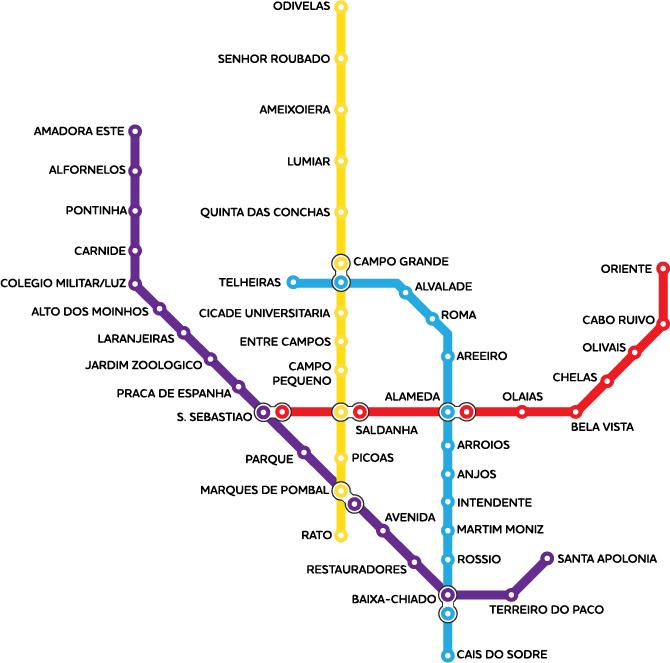 Карта метро города Лиссабон