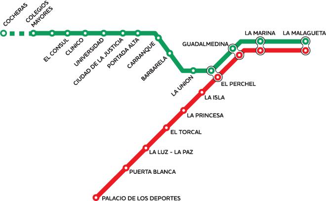 Карта метро города Малага